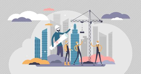 Builders vector illustration. House construction flat tiny persons concept.