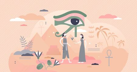 Ancient Egypt vector illustration. Pyramids and eye of horus symbol flat tiny persons concept.