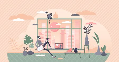 Free time vector illustration. Relaxing at home flat tiny person concept. Break from work with tea pause for leisure and recreation. Urban apartment scene with book reading and movies watching process Ilustrace