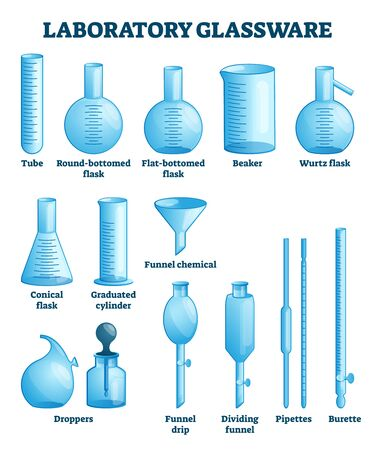 Laboratory glassware vector illustration. Labeled science equipment set. Chemistry, physics or pharmacy lab glass tools. Tube, flasks, beaker, funner, dropper or pipettes educational visual comparison 向量圖像
