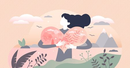 Nature lover vector illustration. Environment passion tiny persons concept. Ecological and green responsibility lifestyle with biological flora diversity protection hobby symbolized with hugged heart.  イラスト・ベクター素材