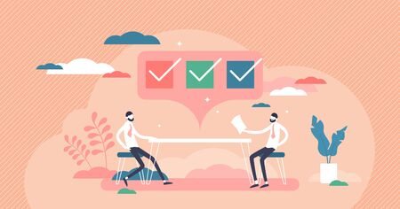 Interview checklist with questions, answers vector illustration flat tiny person concept. Communication method in media, press, journalism or recruitment agency. Symbolic checkbox with completed list