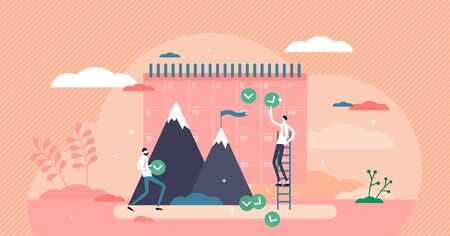 Monthly goals vector illustration. Plan control flat tiny persons concept. Business profit result forecast schedule with day table. Effective calendar method for employee target report and fulfillment  イラスト・ベクター素材
