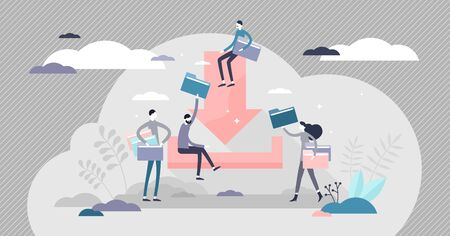 Downloadable vector illustration. Option to save file document flat tiny persons concept. Abstract scene with folders on IT server or cloud. Computer technology to copy information from web online.  イラスト・ベクター素材