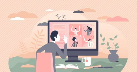 Video conferencing vector illustration. Distance conversation with work colleague flat tiny person concept. Online contact meeting with business partners using modern chat service application platform