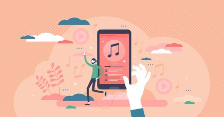 Music playlist vector illustration. Audio songs rotation schedule flat tiny persons concept. Media tracklist streaming app with track listening and control features. User downloaded records playback.  イラスト・ベクター素材