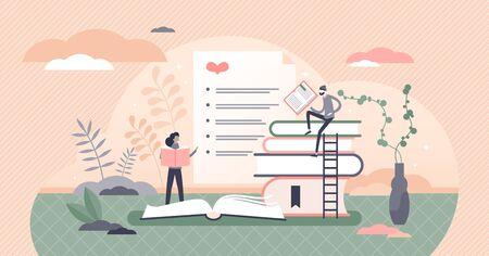 Best books list vector illustration. Top favorite literature sheet flat tiny persons concept.