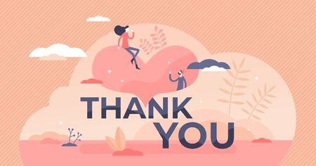 Thank you vector illustration. Gratitude banner flat tiny persons concept. Kind communication and answer to birthday or wedding celebration invitation. Abstract thankful couple text scene in postcard.