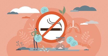 Quit smoking vector illustration. Stop cigarettes tobacco addiction decision tiny persons concept. Fight against unhealthy smoker habit for medical and money saving reasons. No harmful nicotine sign.