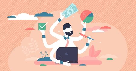 Busy entrepreneur vector illustration. Multitasking process flat tiny persons concept. Professional time and workload management skill. Business lifestyle under pressure, frustration and task chaos.