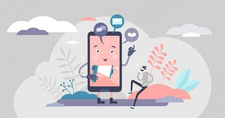 Online distractions vector illustration. Smartphone notification alert flat tiny person concept. Chat messages tone as productivity reduce factor. Contentration or attention interruption in cyberspace