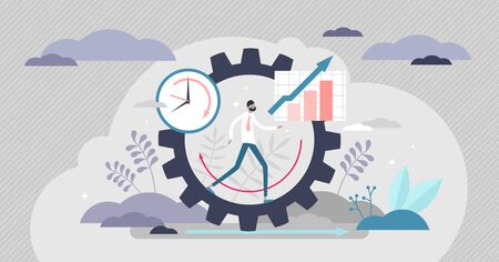 Productivity vector illustration. Job performance flat tiny persons concept. Efficient time and task management strategy for business growth progress and development. Dynamic work success elements.  イラスト・ベクター素材