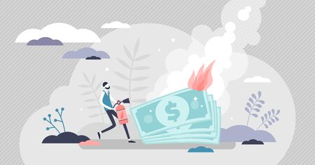 Burning money vector illustration. Financial trouble symbolized with fire and businessman extinguishes flames flat tiny persons concept. Economy bankruptcy risk and rapid money value and wealth lost.  イラスト・ベクター素材