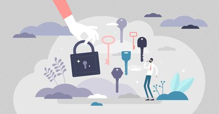 Finding the right key scene vector illustration ir flat tiny persons concept. Symbolic solution finding in situation with various paths, directions and decisions. Creative strategy think visualization