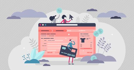 Check out page vector illustration. Online shop flat tiny persons concept. E-commerce final payment confirm choice and decision. Abstract transaction panel view with information boxes and credit card