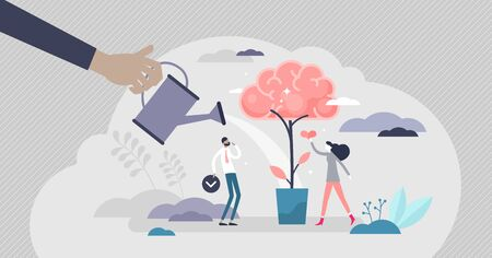 Improving memory for knowledge remember tiny persons vector illustration. Thinking method as personal mind development abstract visualization. Intelligence boost and information processing performance