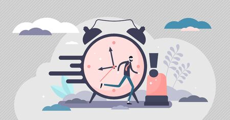 Urgency in business project deadline flat tiny persons concept vector illustration. Time management with stressful hurry moment abstract visualization. Professional businessman important occasion.  イラスト・ベクター素材