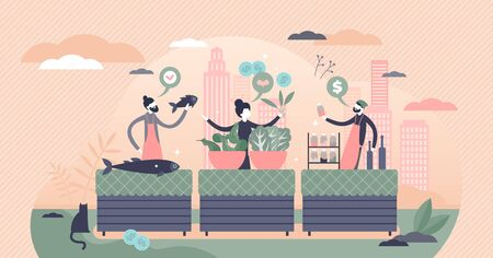 Local food market with bio products in flat tiny persons concept vector illustration. Healthy raw organic vegetable harvest on street stand. Domestic biological retail sale and shopping in urban town.