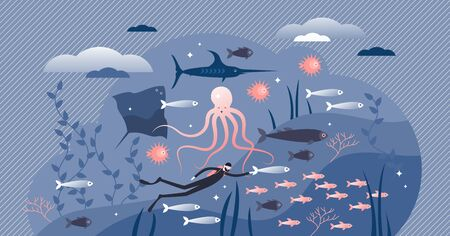 Ocean life with underwater fauna in flat tiny persons concept vector illustration. Sea wildlife drawing with diver and fishes as beautiful nature scene. Tropical environment exotic deep swimming.