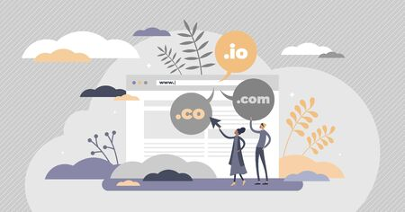 Domain name as web server website address extension flat tiny person concept. Internet online hosting service technology network with com, org, net, io and co symbols. Abstract www user registry scene