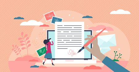 Writing letter as online email message. Communication style in tiny persons concept. Typing document with signature attachment to web document. Business mailbox service usage abstract visualization. Illustration