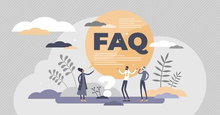 FAQ support as frequently asked questions help in flat tiny persons concept vector illustration. Customer solution answers from web assistance page with advice information. Find problem solving hints. Çizim