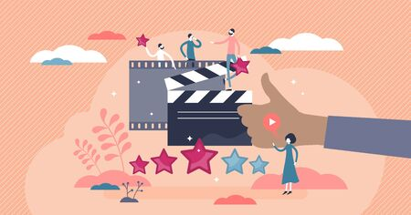 Movie review as cinema film feedback criticism in flat tiny persons concept vector illustration. Stars rating vote after entertainment watching. Theater content critical appraisal and result comment. Illustration