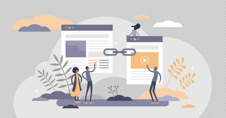 Link building as search engine optimization, SEO effective method tiny persons concept. Hyperlink connection between online websites vector illustration. Successful strategy for home page development