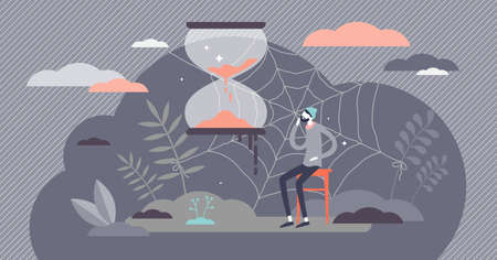 Long waiting patience and sand clock pending time flat tiny persons concept. Abstract visualization with spider web as slow and boring symbol vector illustration. Wait for late meeting and appointment Çizim