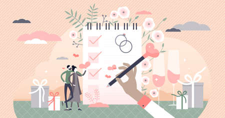 Wedding planning with checklist and reminder schedule tiny persons concept. Elegant marriage event celebration vector illustration. Romantic business service management with help to organize agenda.