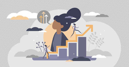 Self improvement with personal development and growth flat tiny persons concept. Educational and professional progress vector illustration. Career progress and skill training performance challenge. Çizim