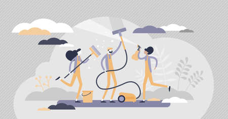 Cleaning team as professional hygiene service business flat tiny persons concept. Washing sanitary and janitor as work profession and occupation vector illustration. Disinfection cleanup process scene