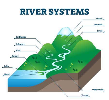River systems and drainage basin educational structure vector illustration. Geological description with water flow from source to sea. Labeled scheme with levee, confluence, tributary, delta and oxbow Vettoriali
