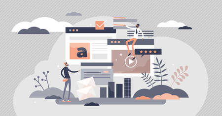 Digital content with online data and social media streaming flat tiny persons concept. Abstract modern news feed and website communication vector illustration. Open windows with pop ups and textbox. Ilustracja
