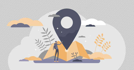 Location services as destination GPS pin point on map flat tiny persons concept. Navigation symbol for travel and place mapping vector illustration. Direction information and distance visualization. Ilustracja