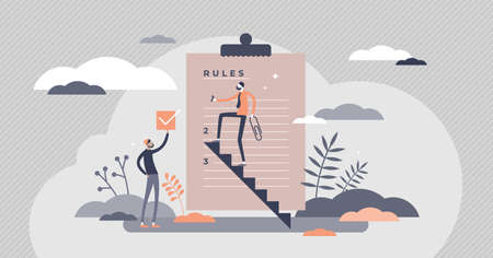 Rules regulation information as legal guideline checklist tiny persons concept. Forbidden laws and restriction control graphic vector illustration. Terms management and security strategy information.