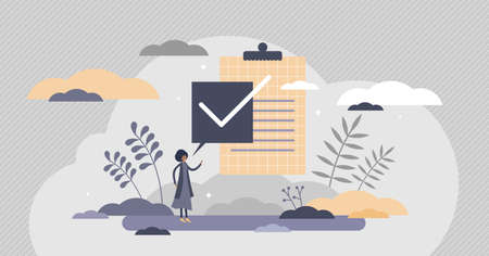 Task done right sign as approved check mark symbol flat tiny persons concept. Positive checklist result or passed exam vector illustration. Completed project validation form and control confirmation Vectores