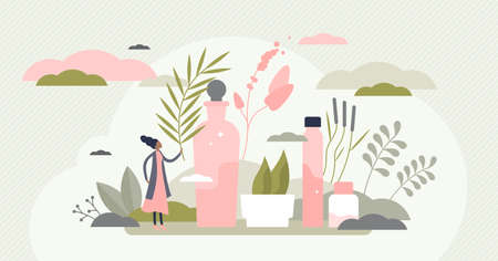 Organic skincare with herbal ecological cosmetics cream flat tiny persons concept. Natural hygiene products for female health and treatment vector illustration. Woman body harmony and beauty therapy.