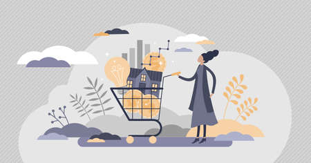 Cost of living with expenses consumption in cart flat tiny persons concept. Family budget plan with affordable payments vector illustration. Lifestyle price for electricity, utilities and mortgage.
