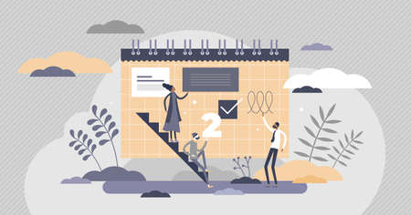 Planning with schedule notes as reminder on calendar flat tiny persons concept. Project information message pinned on abstract memo document vector illustration. Writing business strategy on paper.