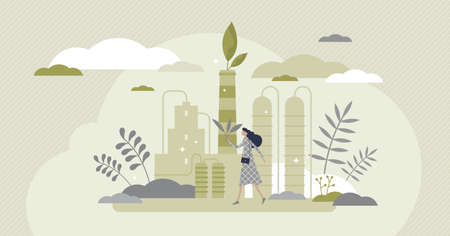 Green industry with alternative sustainable eco energy flat tiny persons concept. Global environment saving with ecological factories with clean recyclable resources consumption. Earth friendly scene. 矢量图像