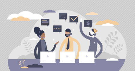 Call center support with answers to customer questions tiny persons concept. Client feedback and helpdesk service vector illustration. Technical assistance and consultation as professional occupation.