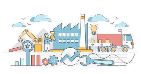 Lean manufacturing as company production method and strategy outline concept. Process methodology for performance and development efficiency vector illustration. Productivity and resource management. Vector Illustratie