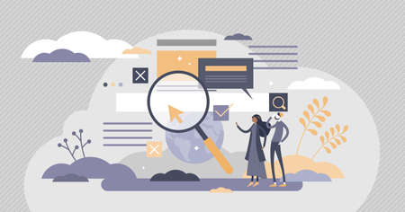 Search information online in internet websites flat tiny person concept. Find global data using search engine optimization vector illustration. Page research tool to help user get answers and solution Vectores