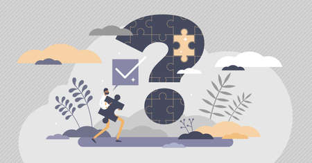 Problem solution and puzzle question and answer scene tiny persons concept. Business management challenge and mistake correction vector illustration. Abstract work stress and failure situation help.