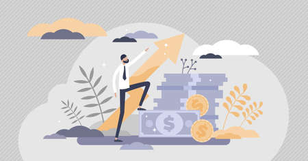 Profit success with financial money income growth flat tiny persons concept. Economical wealth revenue visualized as pile of cash vector illustration. Budget savings and deposit progress development.