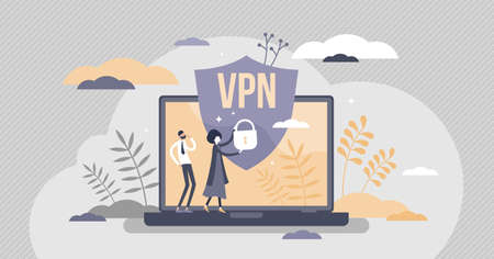 VPN virtual private network information secured in cloud tiny person concept. Confidentiality system for data security protected with encryption or authentication vector illustration. Safe pc protocol