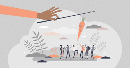 Carrot and stick metaphor as treat teasing visualization tiny person concept. Employee motivation method with award dangling vector illustration. Reward and punishment usage to induce desired behavior