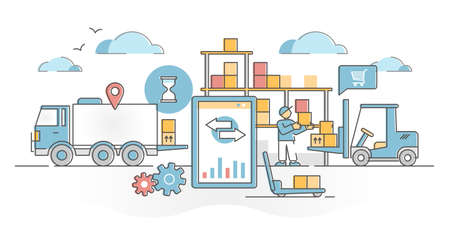 Inventory management work with logistics in goods warehouse outline concept. Distribution chain organization process occupation with production supply flow in stock and shops vector illustration.