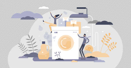 Laundry process with clean and fresh clothes and iron tiny persons concept. Household utility usage vector illustration. Detergent, bleach and softener addition for hygiene outcome in cleaning service